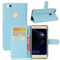 Leathy PU kožené puzdro pre mobil Huawei P10 Lite - svetlomodré
