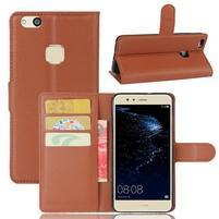 Leathy PU kožené puzdro pre mobil Huawei P10 Lite - hnedé
