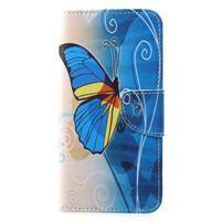 Emotive PU kožené puzdro na Huawei P20 - modrý motýľ
