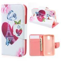 Peněženkové pouzdro na mobil Huawei Y3 a Y360 - srdce