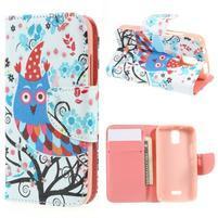 Peňaženkové puzdro na mobil Huawei Y3 a Y360 - sovy a zima