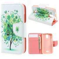 Peněženkové pouzdro na mobil Huawei Y3 a Y360 - zelený strom