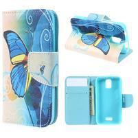Peňaženkové puzdro na mobil Huawei Y3 a Y360 - modrý motýľ