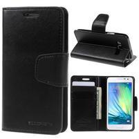 Čierné kožené peňaženkové puzdro pre Samsung Galaxy A3