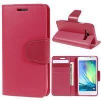 Rose kožené peňaženkové puzdro na Samsung Galaxy A3