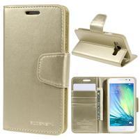 Zlaté kožené peňaženkové puzdro pre Samsung Galaxy A3