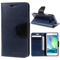 Tmavě modré kožené peňaženkové puzdro na Samsung Galaxy A3
