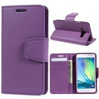Fialové kožené peňaženkové puzdro na Samsung Galaxy A3