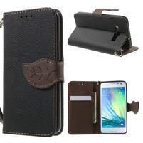Čierné/hnedé kožené puzdro pre Samsung Galaxy A3