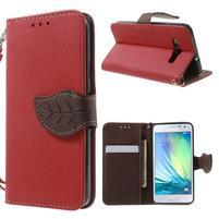 Červené/hnedé kožené puzdro na Samsung Galaxy A3