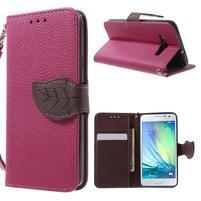 Rose/hnedé kožené puzdro pre Samsung Galaxy A3