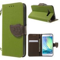 Zelené/hnedé kožené puzdro pre Samsung Galaxy A3