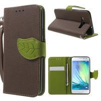 hnedé/zelené kožené puzdro pre Samsung Galaxy A3