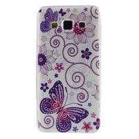 Gélový obal pre Samsung Galaxy A3 - motýl a kruhy