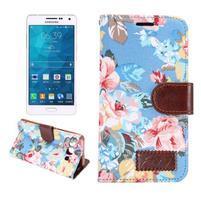 Kvetinové peňaženkové puzdro pre Samsung Galaxy A5 - modré