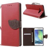 Červené/hnedé kožené puzdro na Samsung Galaxy A5