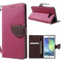 Rose/hnedé kožené puzdro na Samsung Galaxy A5