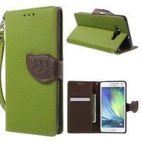 Zelené/hnedé kožené puzdro na Samsung Galaxy A5