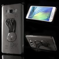 Šedý gélový obal s nastavitelným stojánkem na Samsung Galaxy A5