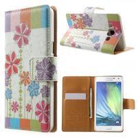 Peňaženkové zapínací puzdro na Samsung Galaxy A5 - farebné květiny