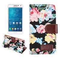 Kvetinové peňaženkové puzdro pre Samsung Galaxy A5 - čierné