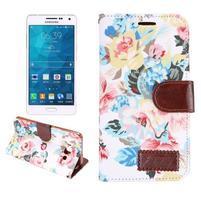Kvetinové peňaženkové puzdro pre Samsung Galaxy A5 - biele