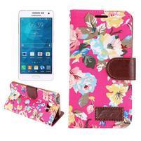 Kvetinové peňaženkové puzdro pre Samsung Galaxy A5 - rose