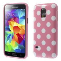 Ružový puntíkatý gélový obal pre Samsung Galaxy S5 mini