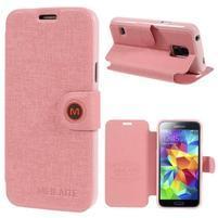 Ružové zapínací puzdro pre Samsung Galaxy S5 mini