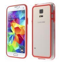 Červený gelový kryt s plastovými lemy na Samsung Galaxy S5 mini