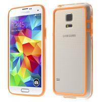 Oranžový gélový kryt s plastovými lemy pre Samsung Galaxy S5 mini