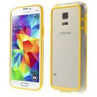 Žlutý gelový kryt s plastovými lemy na Samsung Galaxy S5 mini