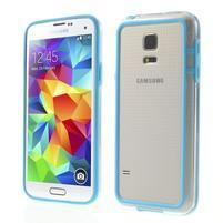 Svetlo modrý gélový kryt s plastovými lemy pre Samsung Galaxy S5 mini