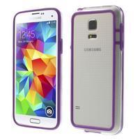 Fialový gélový kryt s plastovými lemy pre Samsung Galaxy S5 mini
