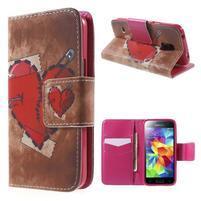 Zapínací peňaženkové puzdro pre Samsung Galaxy S5 mini - srdca
