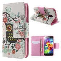 Zapínací peňaženkové puzdro pre Samsung Galaxy S5 mini - kvetinová sova