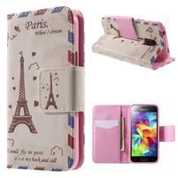 Zapínací peňaženkové puzdro pre Samsung Galaxy S5 mini - Eiffelova veža