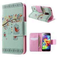 Zapínací peňaženkové puzdro pre Samsung Galaxy S5 mini - ptáček v klícce