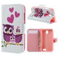 Styles peňaženkové puzdro pre mobil Lenovo A319 - sovičky