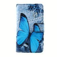 Peňaženkové puzdro pre mobil Lenovo A319 - modrý motýľ