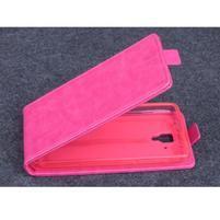 PU kožené flipové puzdro pre Lenovo A536 - rose