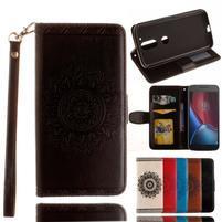 Mandala PU kožené puzdro pre na mobil Lenovo Moto G4 a G4 Plus - čierné