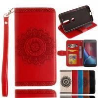 Mandala PU kožené puzdro pre na mobil Lenovo Moto G4 a G4 Plus - červené