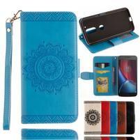 Mandala PU kožené puzdro pre na mobil Lenovo Moto G4 a G4 Plus - svetlomodré