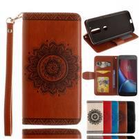 Mandala PU kožené puzdro pre na mobil Lenovo Moto G4 a G4 Plus - hnedé