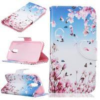 Emotive knížkové puzdro pre mobil Lenovo Moto G4 a G4 Plus - ružové kvetiny