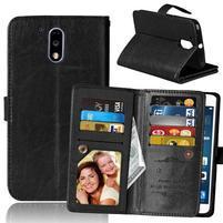 Slots PU kožené peňaženkové puzdro pre mobil Lenovo G4 a G4 Plus - čierné