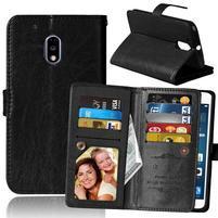 Slots9 PU kožené peňaženkové puzdro pre Lenovo Moto G4 Play - čierné