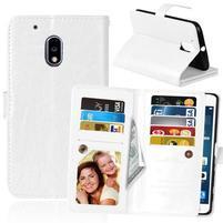 Slots9 PU kožené peňaženkové puzdro pre Lenovo Moto G4 Play - bielé