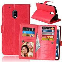 Slots9 PU kožené peňaženkové puzdro pre Lenovo Moto G4 Play - červené